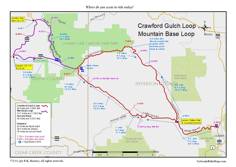 Crawford Colorado Map Crawford Gulch Loop & Mountain Base Loop « coloradobikemaps